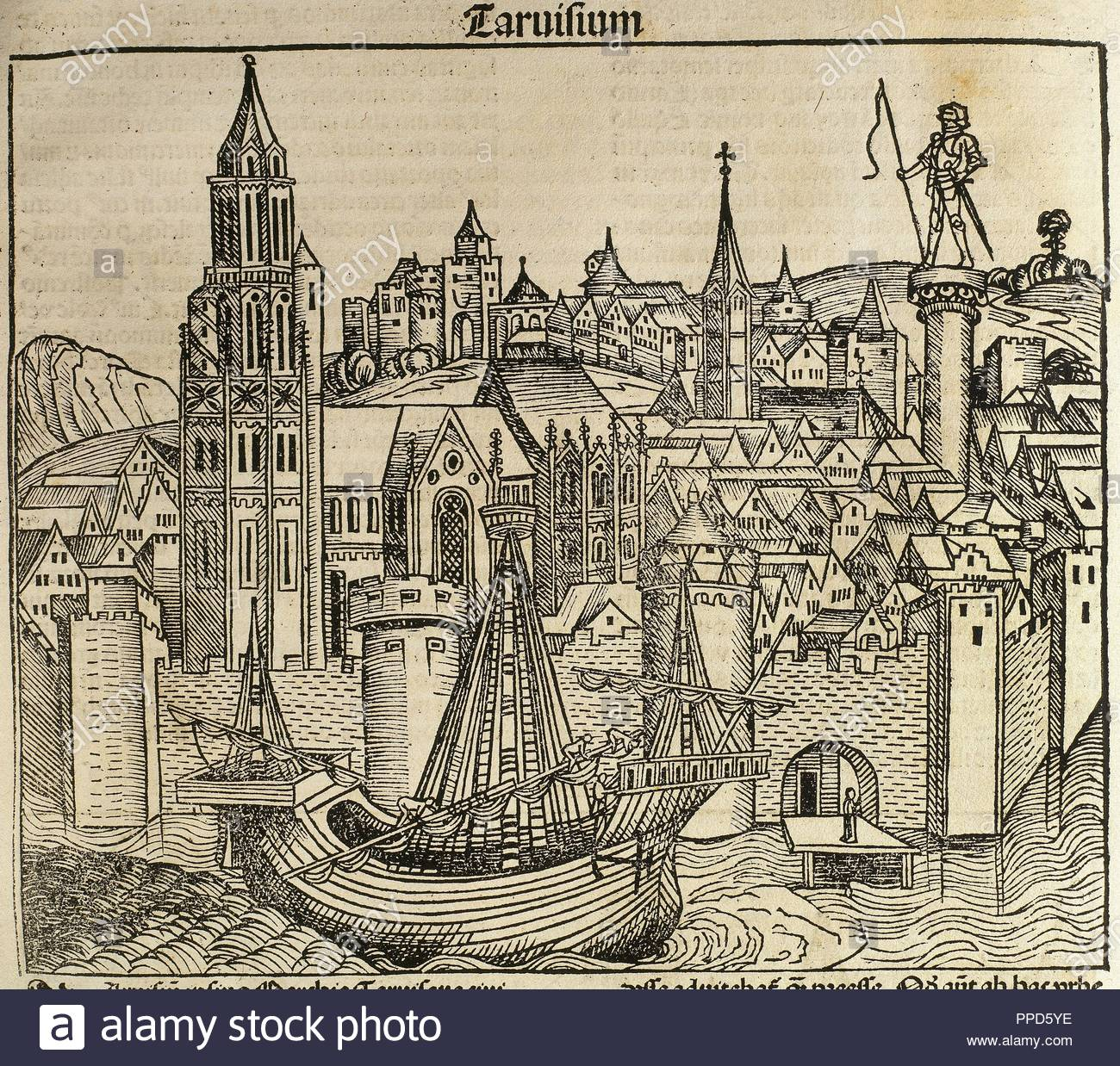 Italy. Treviso city. Veneto region. It stands at the confluence of Botteniga with the Sile rivers. Engraving. 'Liber Chronicarum de Hartmann Schedel', 1493. - Stock Image