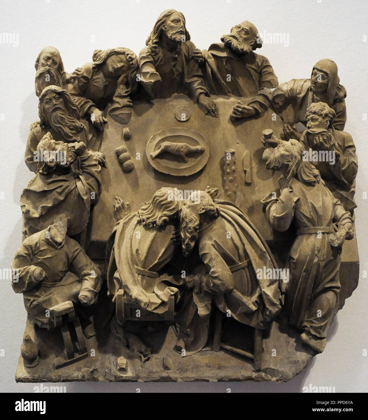 The Last Supper from the sacrament house of Cologne Cathedral, Germany. Cologne, c. 1510. Baumberg Sandstone. Schnu_tgen Museum. Cologne, Germany. - Stock Image