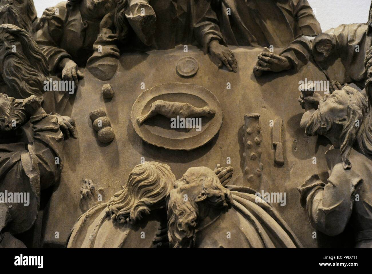 The Last Supper from the sacrament house of Cologne Cathedral, Germany. Cologne, c. 1510. Sculptural group. detail. Baumberg Sandstone. Schnu_tgen Museum. Cologne, Germany. - Stock Image