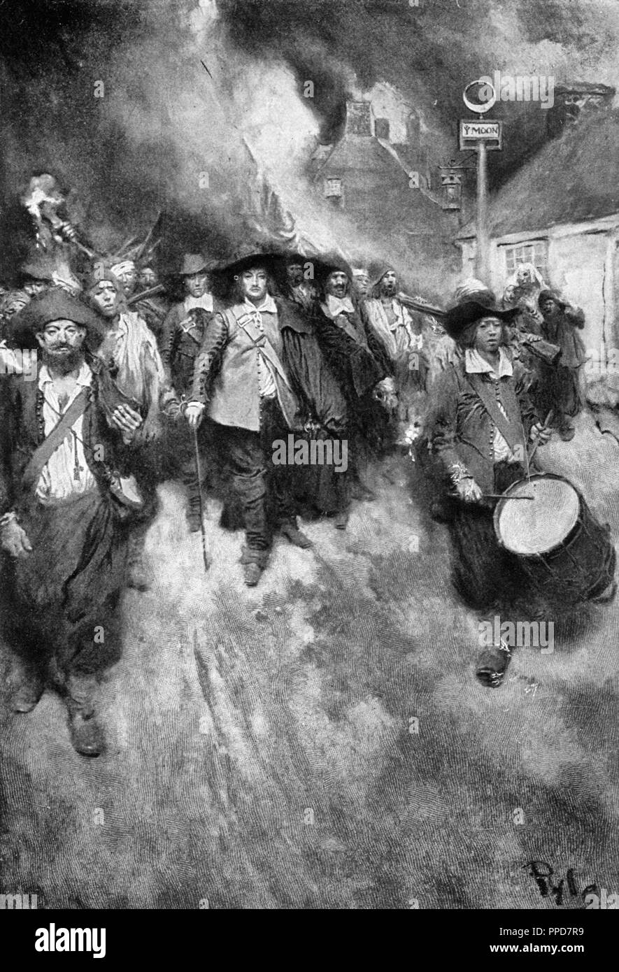 The Burning of Jamestown by Howard Pyle (signature lower right corner). It depicts the burning of Jamestown, Virginia during Bacon's Rebellion Stock Photo