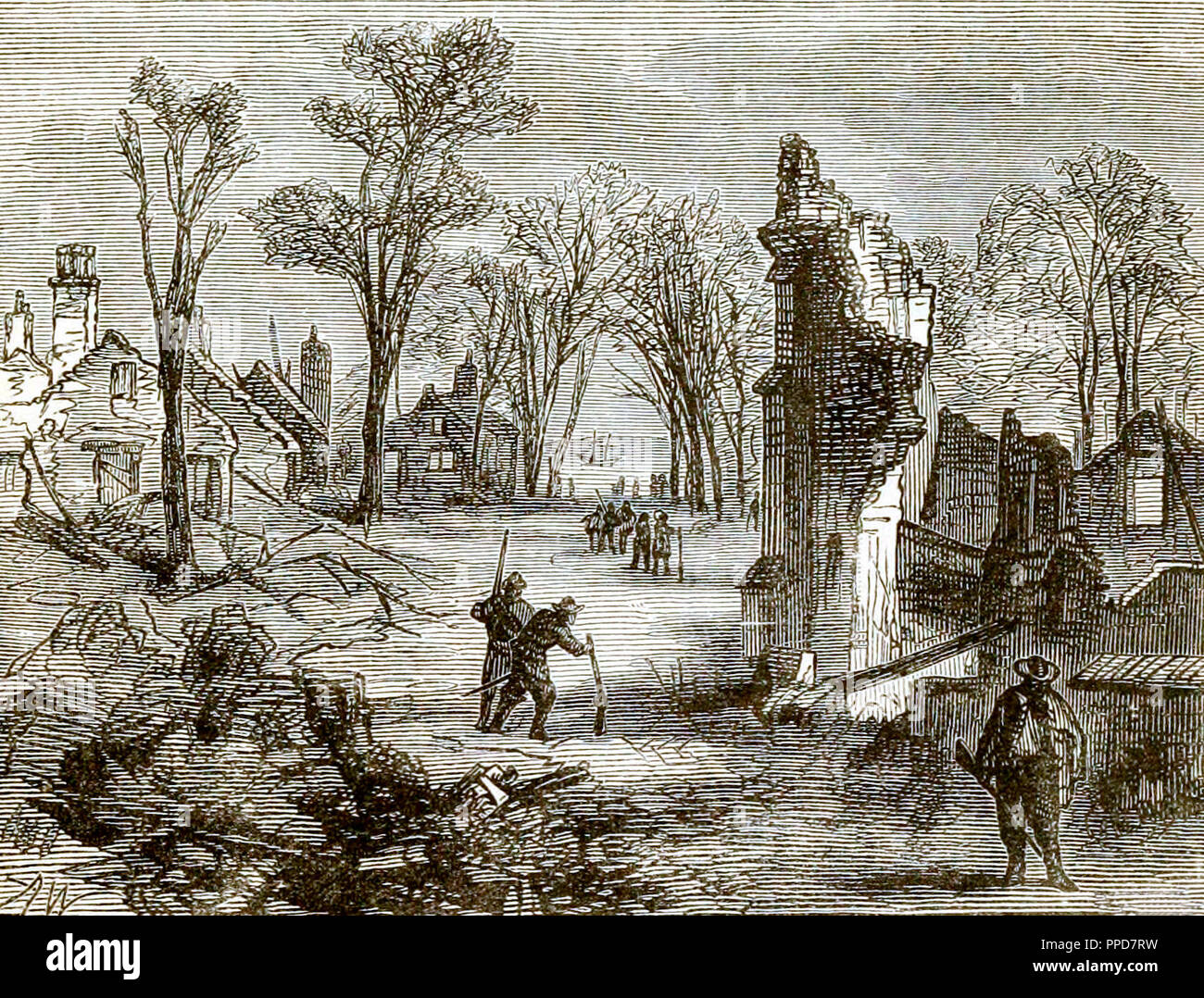An 1878 depiction of the ruins of Jamestown following its burning during Bacon's Rebellion. - Stock Image