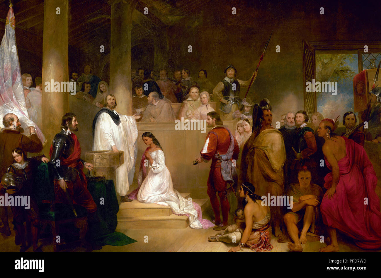 The Baptism of Pocahontas - John Gadsby Chapman depicts Pocahontas, wearing white, being baptized Rebecca by Anglican minister Alexander Whiteaker in Jamestown, Virginia; this event is believed to have taken place in 1613 or 1614. She kneels, surrounded by family members and colonists. Her brother Nantequaus turns away from the ceremony. The baptism took place before her marriage to Englishman John Rolfe, who stands behind her. Their union is said to be the first recorded marriage between a European and a Native American. The scene symbolizes the belief of Americans at the time that Native Ame - Stock Image