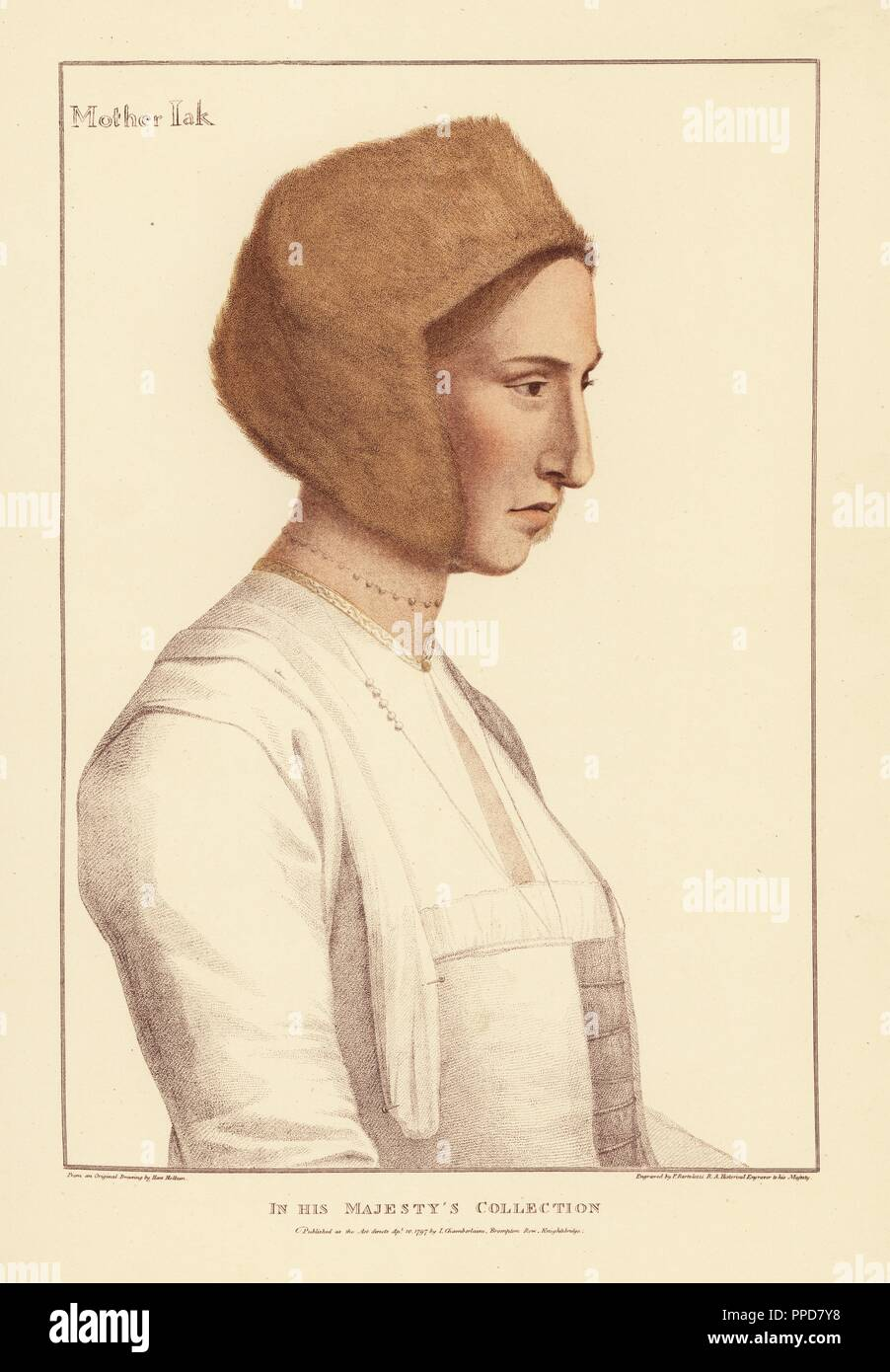 Margaret Clement (née Giggs), foster daughter of Thomas More, wife to John Clement, tutor to the More children. (Mislabeled as Mother Jak, nurse to King Edward VI.) Handcoloured copperplate engraving by Francis Bartolozzi after Hans Holbein from Facsimiles of Original Drawings by Hans Holbein, Hamilton, Adams, London, 1884. - Stock Image