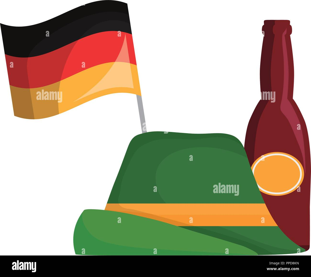 oktoberfest hat germany flag and beer bottle vector illustration - Stock Image