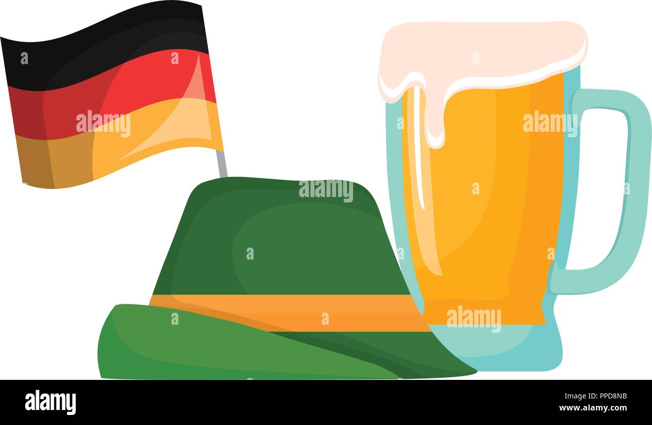 oktoberfest germany flag hat and beer glass vector illustration - Stock Image
