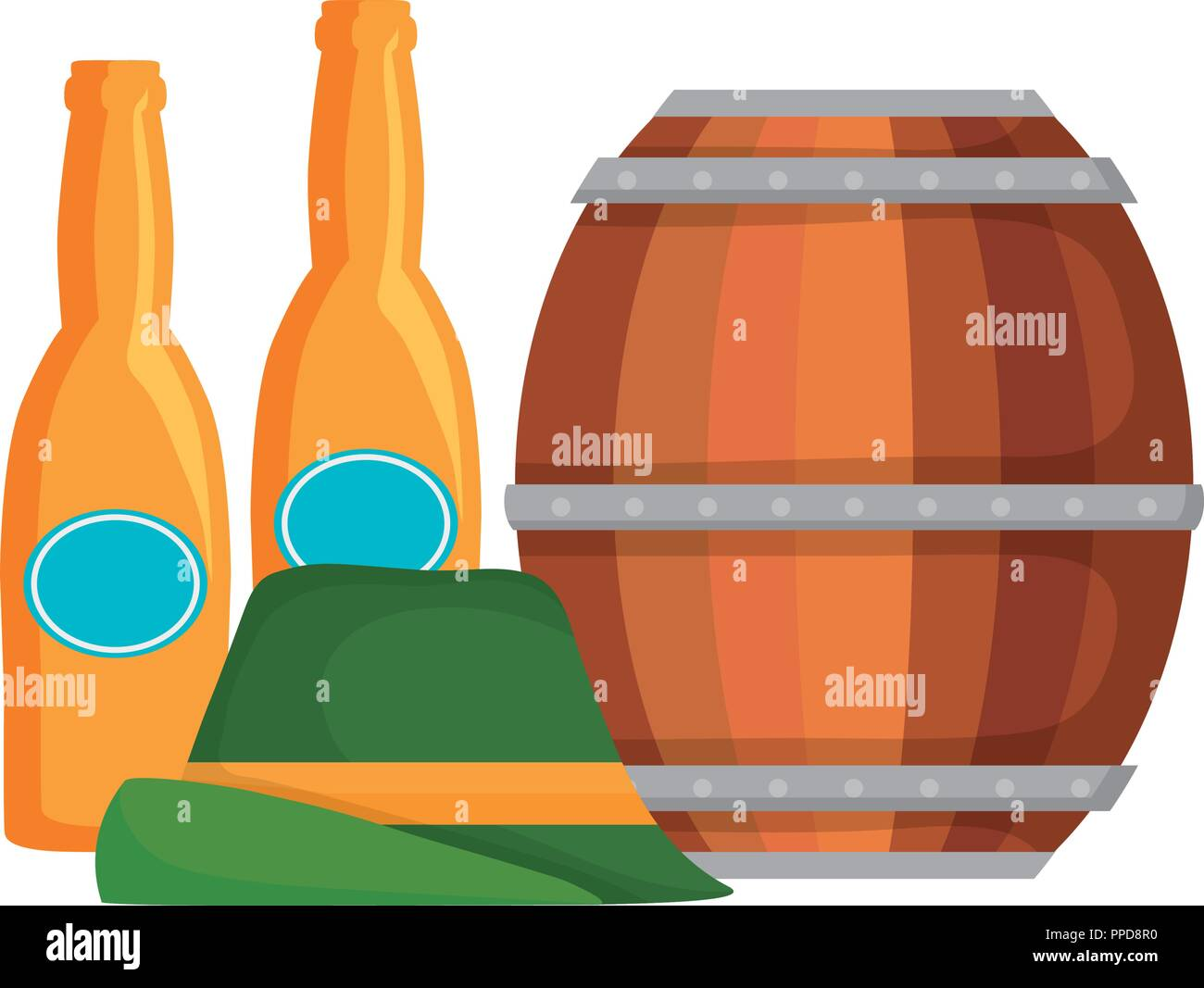 oktoberfest beer barrel bottles and germany hat vector illustration - Stock Photo