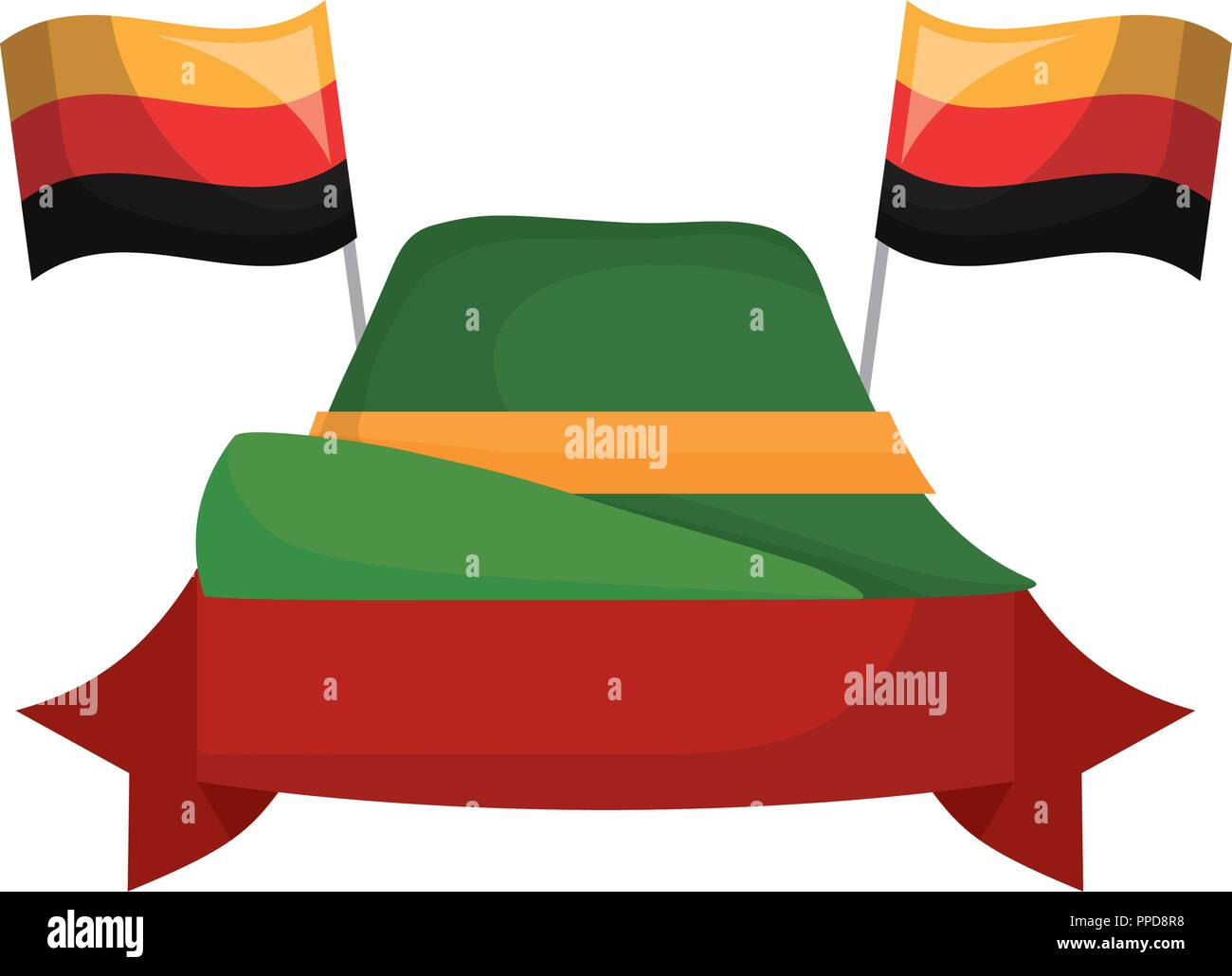 oktoberfest germnay flags hat banner vector illustration - Stock Image