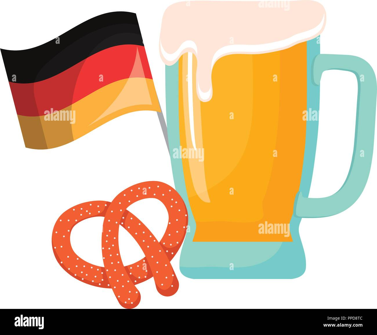 oktoberfest beer glass germany flag and pretzel vector illustration - Stock Image