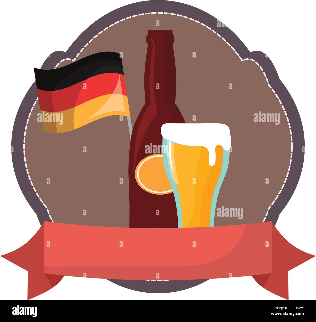 oktoberfest germnay flag bottle beer glass emblem vector illustration - Stock Image