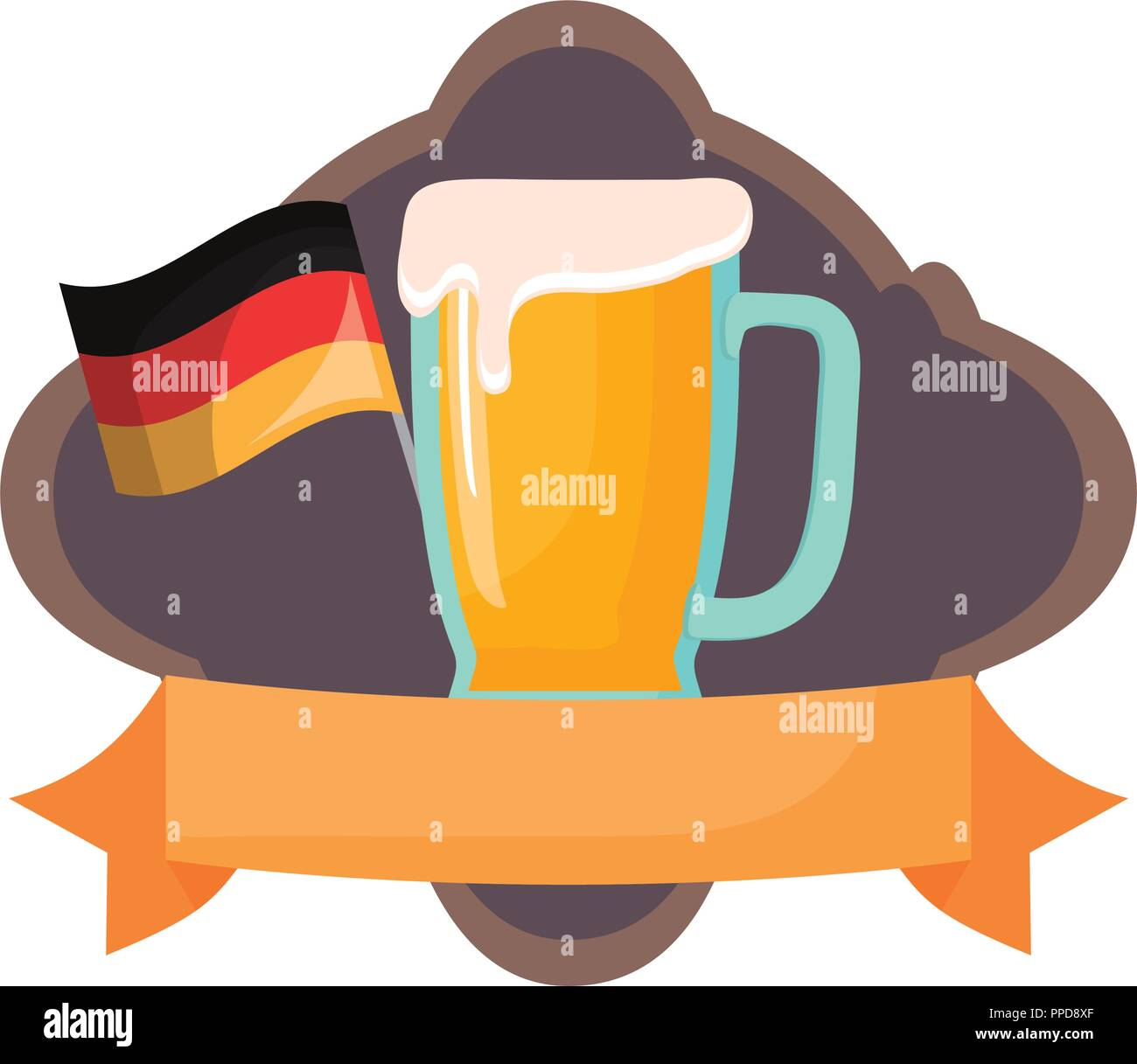 oktoberfest germany flag beer glass emblem vector illustration - Stock Image
