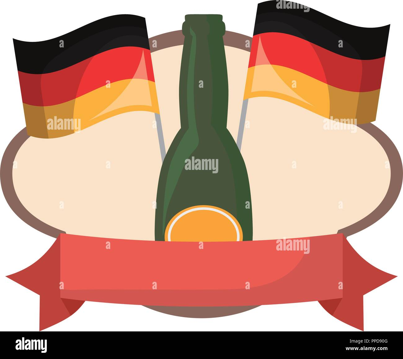 oktoberfest beer bottles and germany flags emblem vector illustration - Stock Image