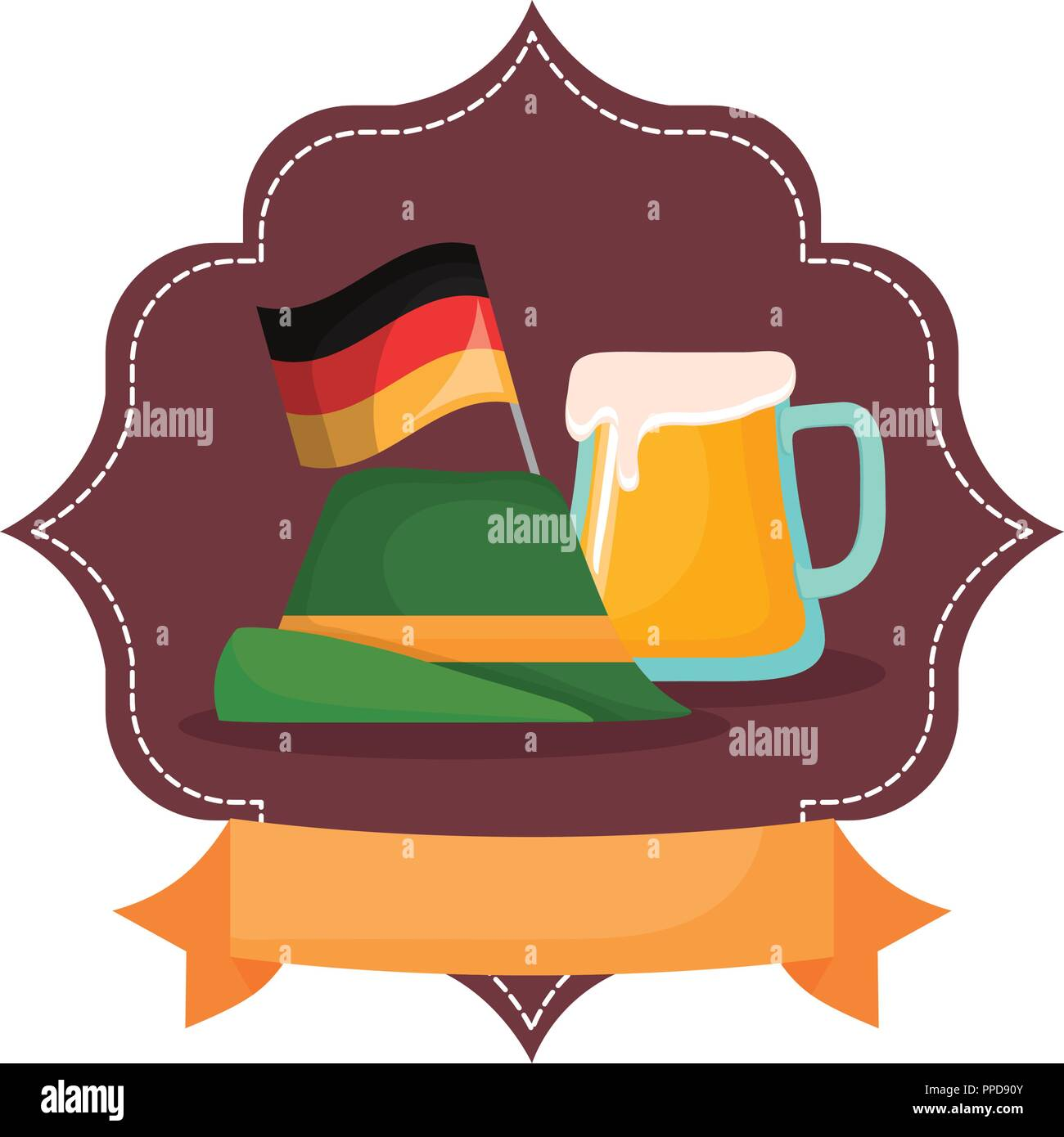 oktoberfest beer germany hat flag emblem banner vector illustration - Stock Image