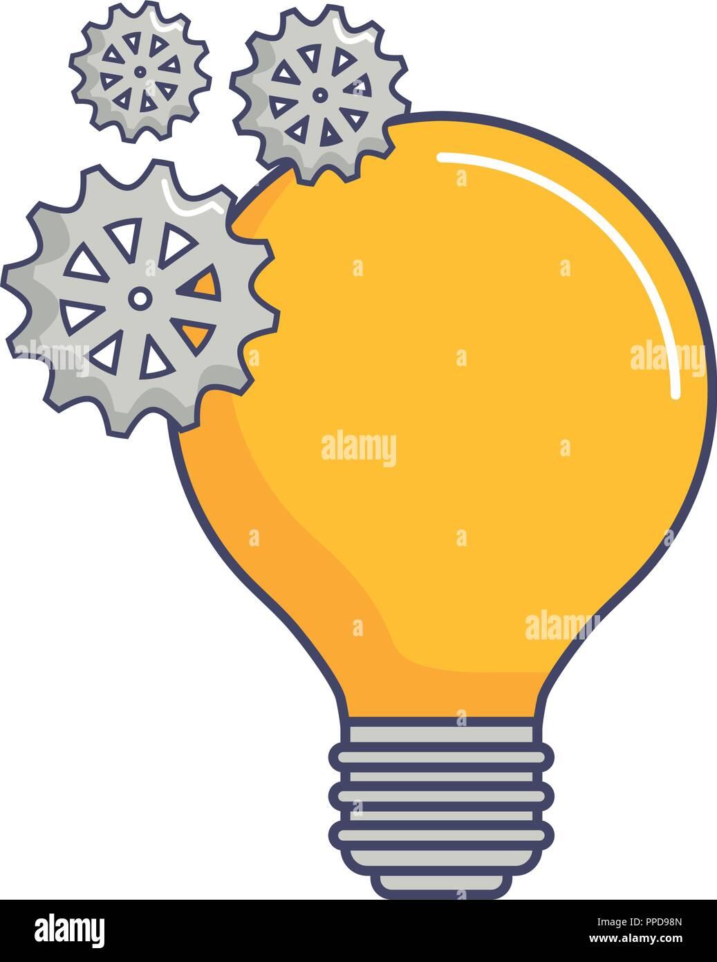 light bulb idea gears team work innovation vector illustration Stock Vector