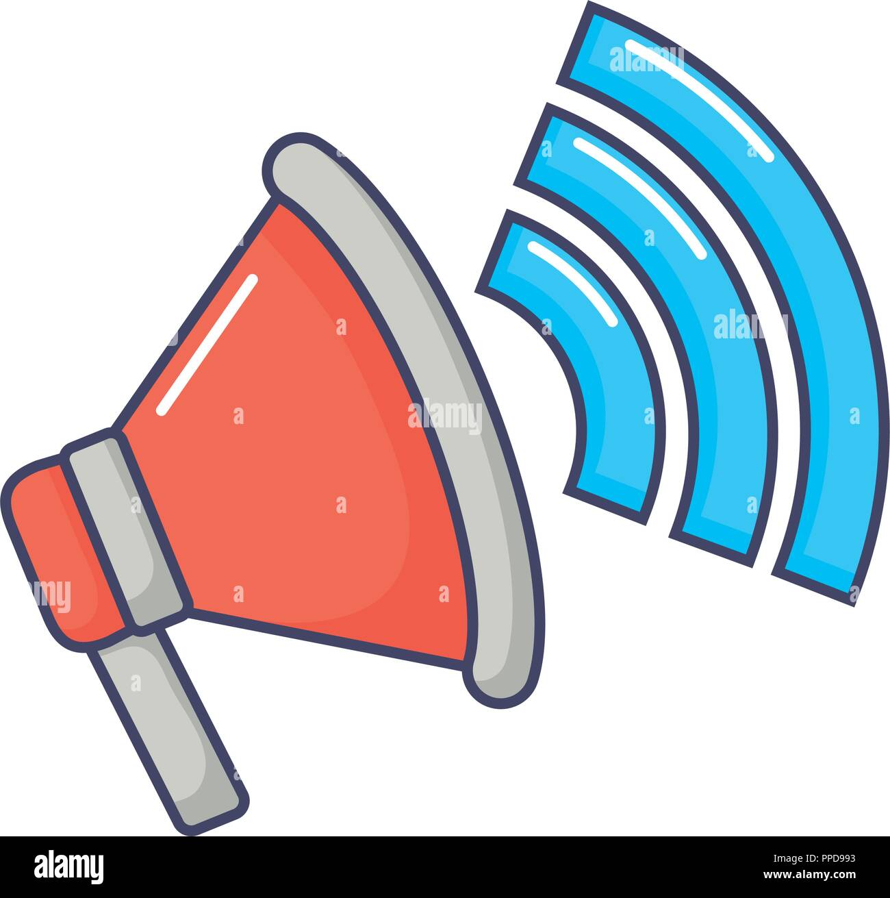 megaphone marketing speaker sound signal innovation vector illustration - Stock Vector