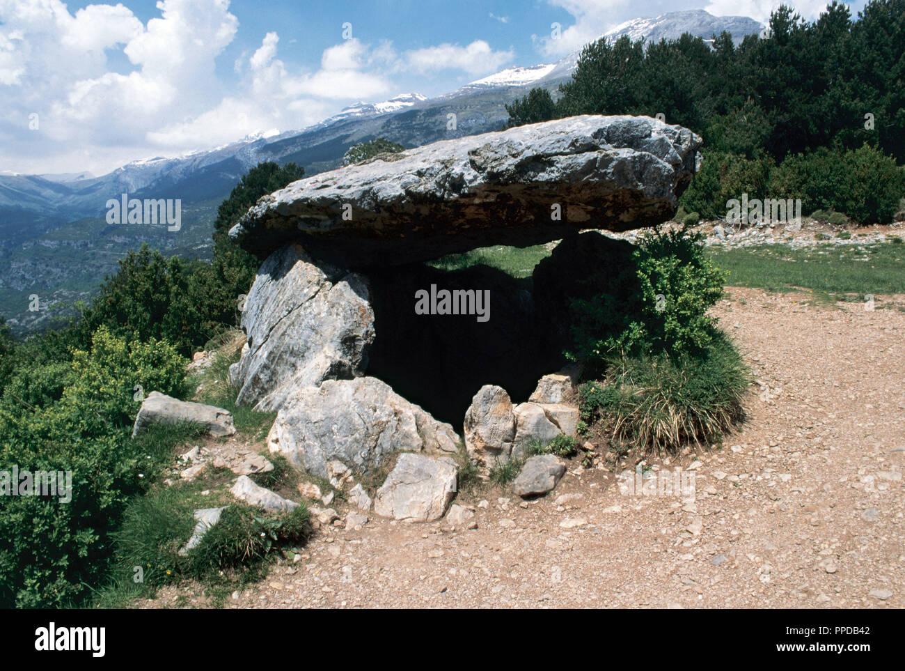 Dolmen of Tella. 4th millennium BC. Neolithic. Near Tella, province of Huesca, Aragon, Spain. Stock Photo