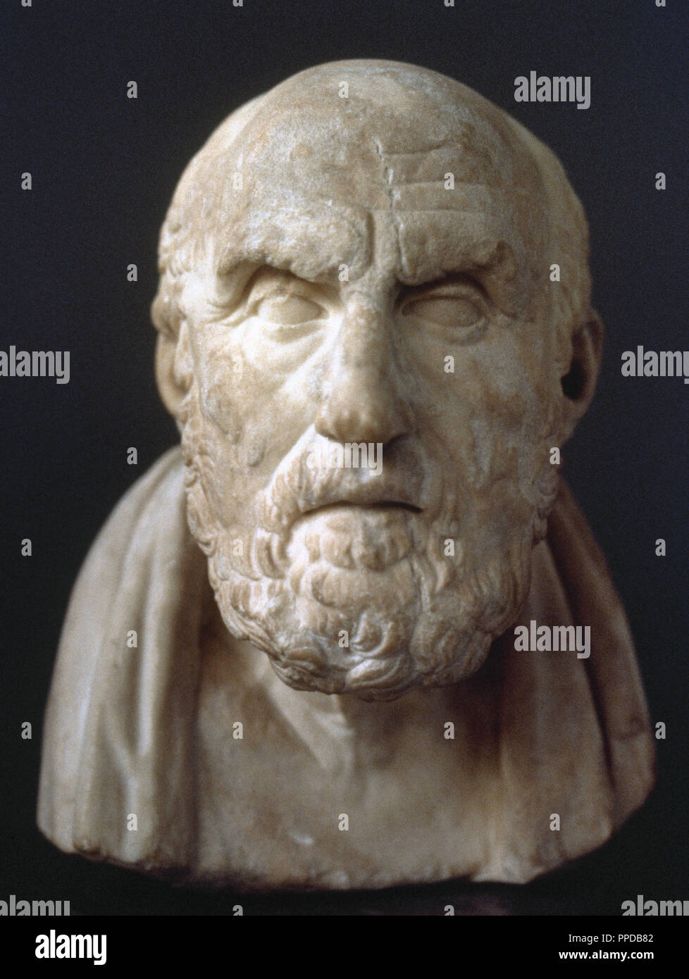 Chrysippus (280-206 BC). Greek Stoic philosopher. Stoicism school. Bust. Roman copy from a Hellenistic bust. British Museum. London, England. - Stock Image