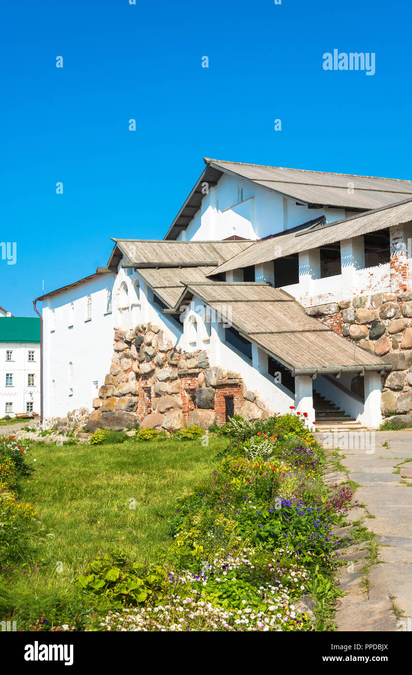 In the courtyard of the Spaso-Preobrazhensky Solovetsky monastery, Arkhangelsk oblast, Russia. Stock Photo