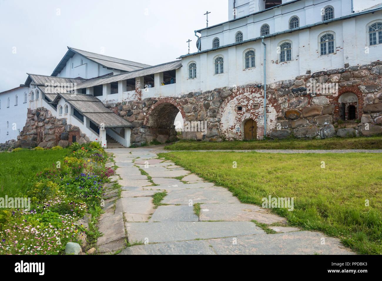 In the courtyard of the Spaso-Preobrazhensky Solovetsky monastery, Arkhangelsk oblast, Russia. Stock Photo