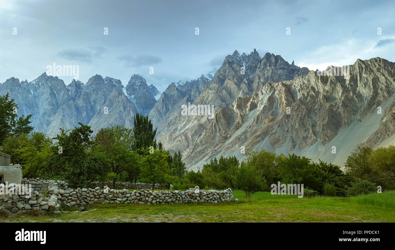 Beautiful view of Feilds in the mountains of Passu, in Hunza Valley, Pakistan - Stock Image