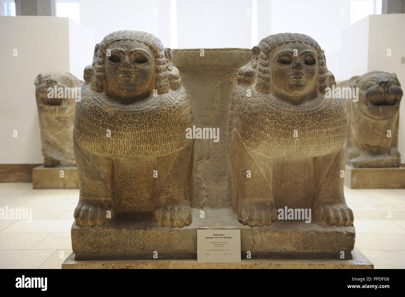 Hittites. Column base with double sphinx from the entrance of Palace of Zincirli. 8th century BC. Sma'al(Turkey). Pergamon Museum. Museum Island. Berlin. Germany. Stock Photo