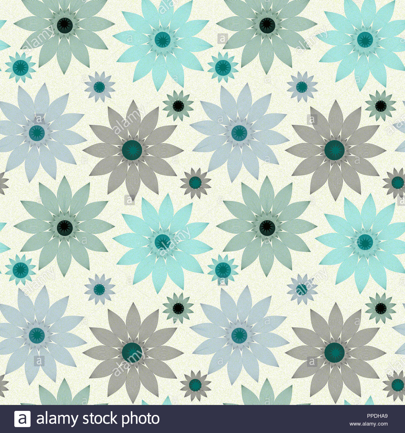 Vintage Style Floral Wallpaper Tile In Blue Black Shades Stock