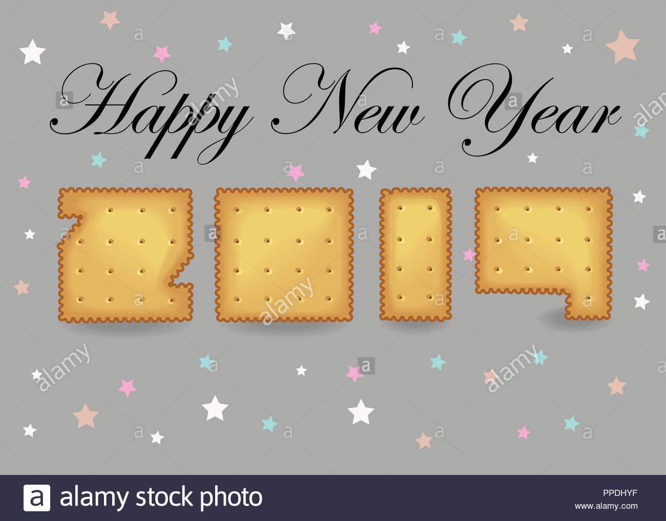 happy new year 2019 artistic yellow number as cracker cookies gray background with colorful stars black text vector illustration