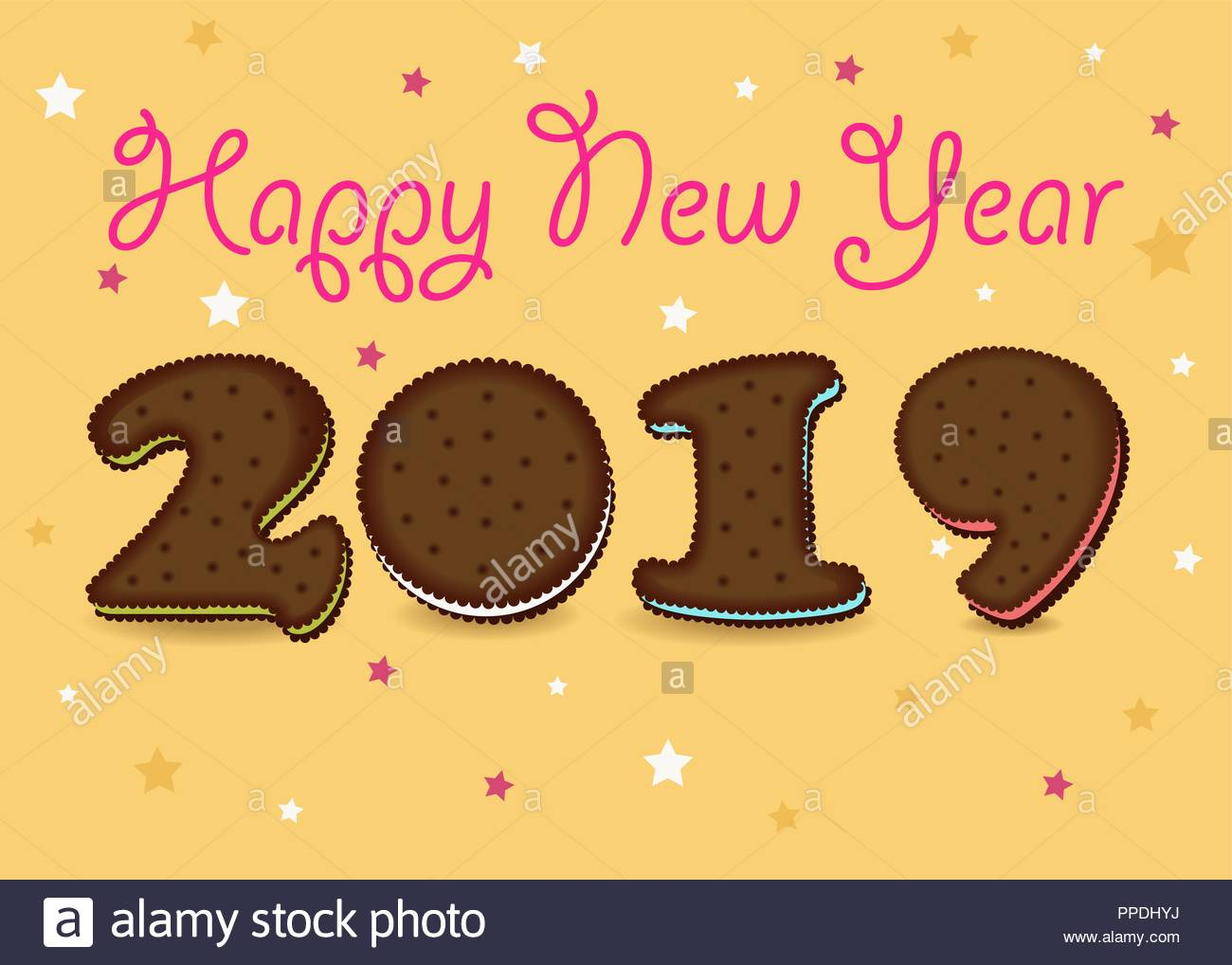 happy new year 2019 artistic brown number as chocolate cookies with colorful cream yellow background with stars pink text vector illustration