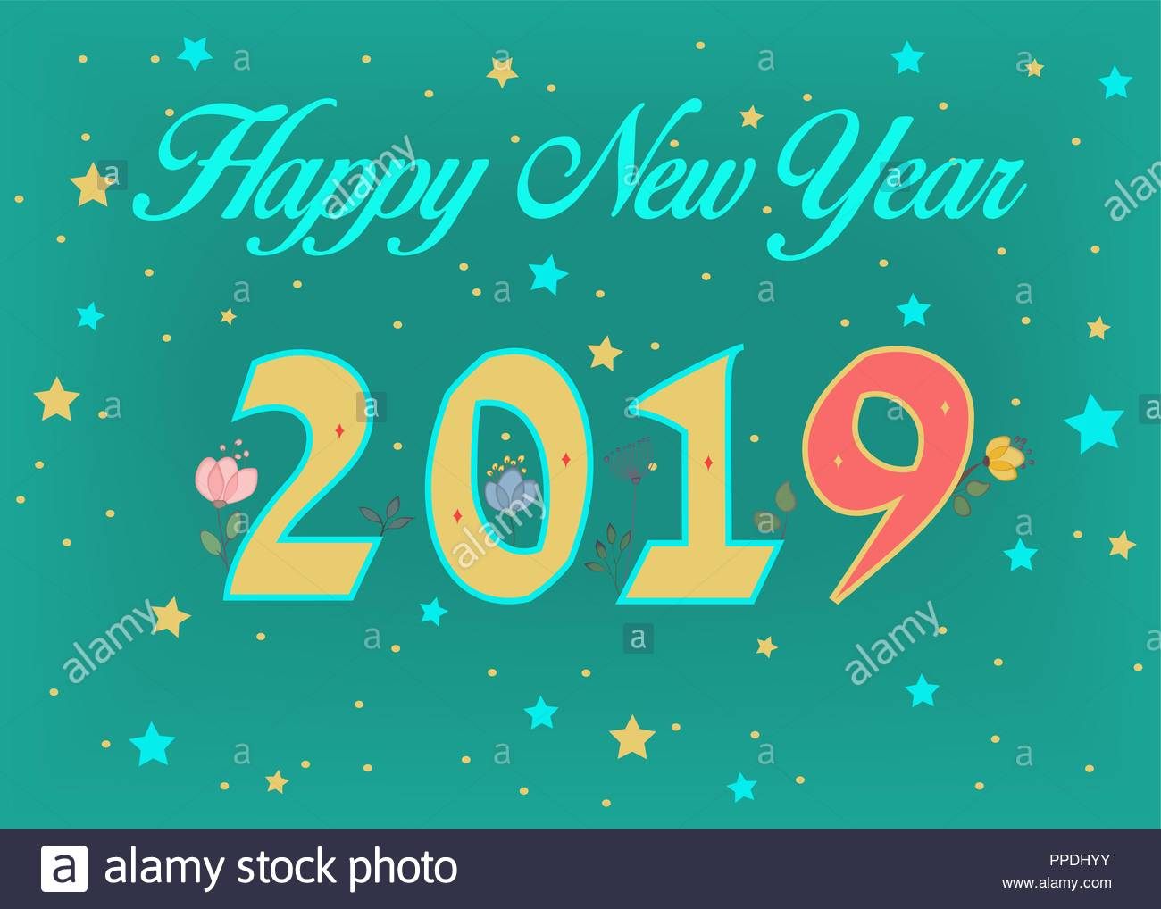 happy new year 2019 artistic yellow and red number with decor of graceful watercolor flowers green background with stars vector illustration