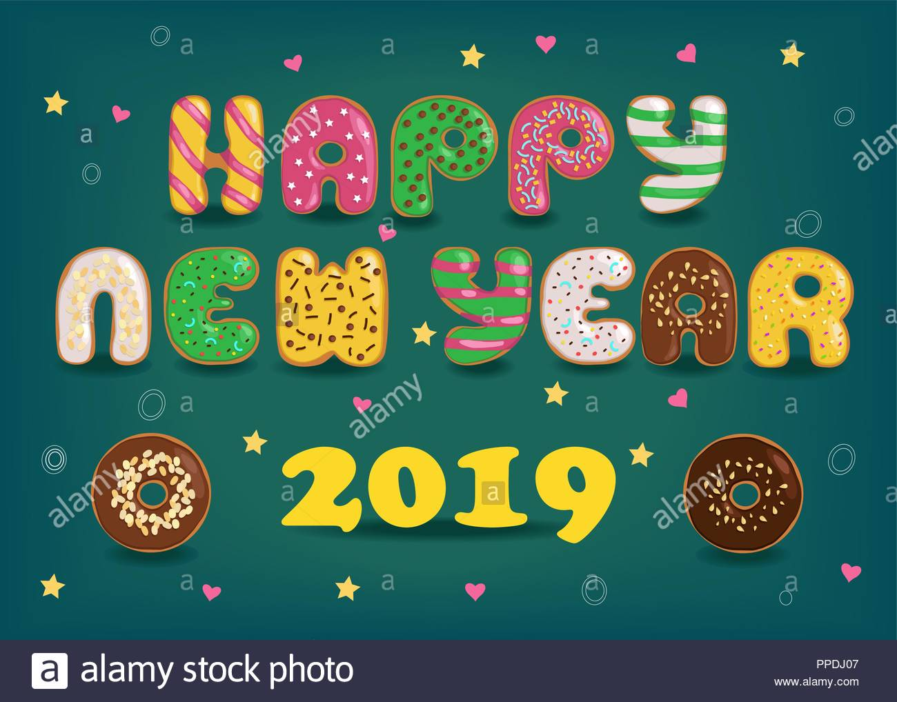 happy new year 2019 artistic colorful letters as sweet donuts with cream and nuts decor dark green background with confetti of colorful hearts and s