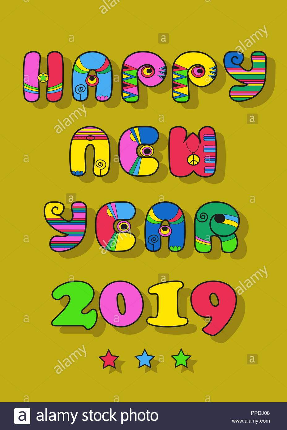 happy new year 2019 artistic cartoon alphabet with colorful decor yellow background with stars vector illustration