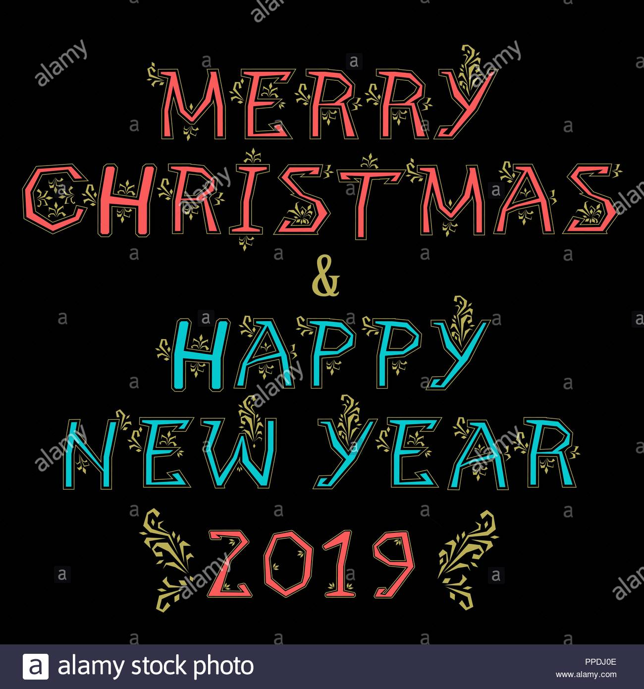 merry christmas and happy new year 2019 artistic blue and red alphabet with yellow folk botanical decor black background vector illustration