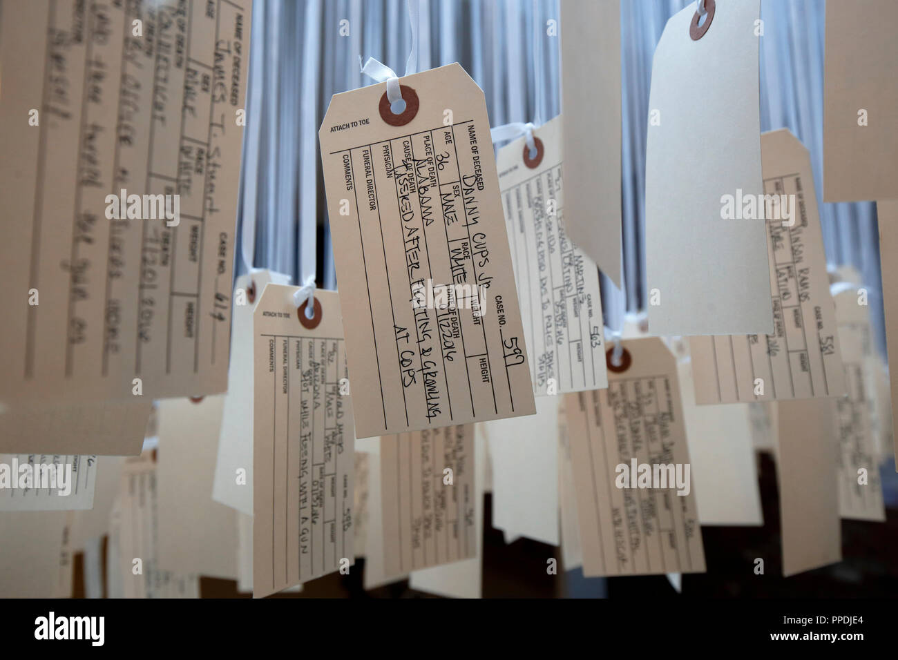 Ann Lewis 'And Counting' documenting each death at the hands of police in 2016, at the Museum of Broken Windows - Stock Image