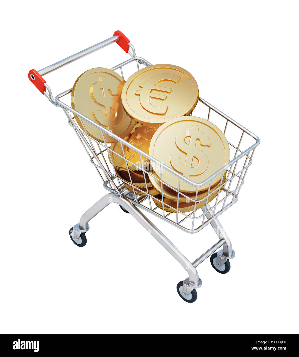 Shopping Cart with Euros and Dollars isolated on White Background. 3D illustration - Stock Image