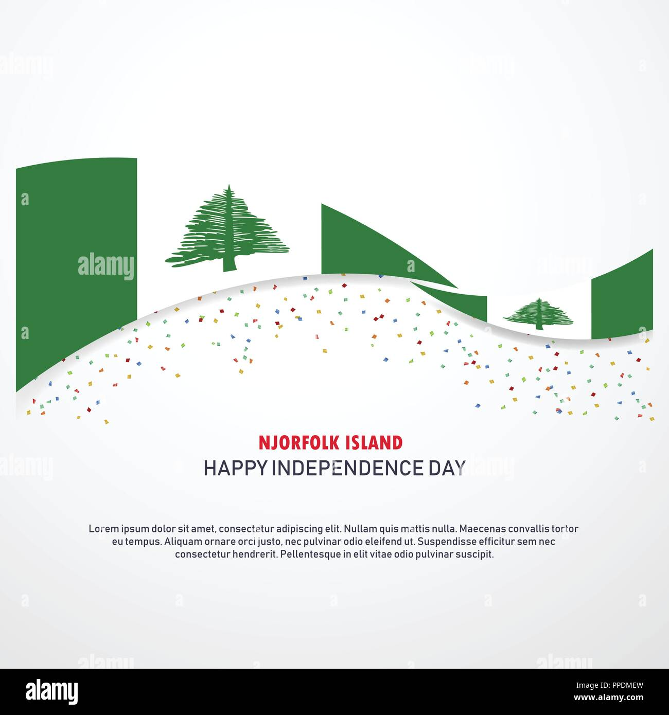 NJorfolk Island Happy independence day Background Stock Vector