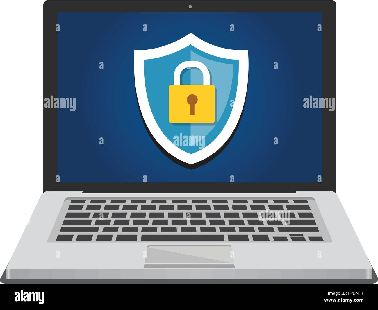Computer security and data protection concept with shield icon and padlock - Stock Vector