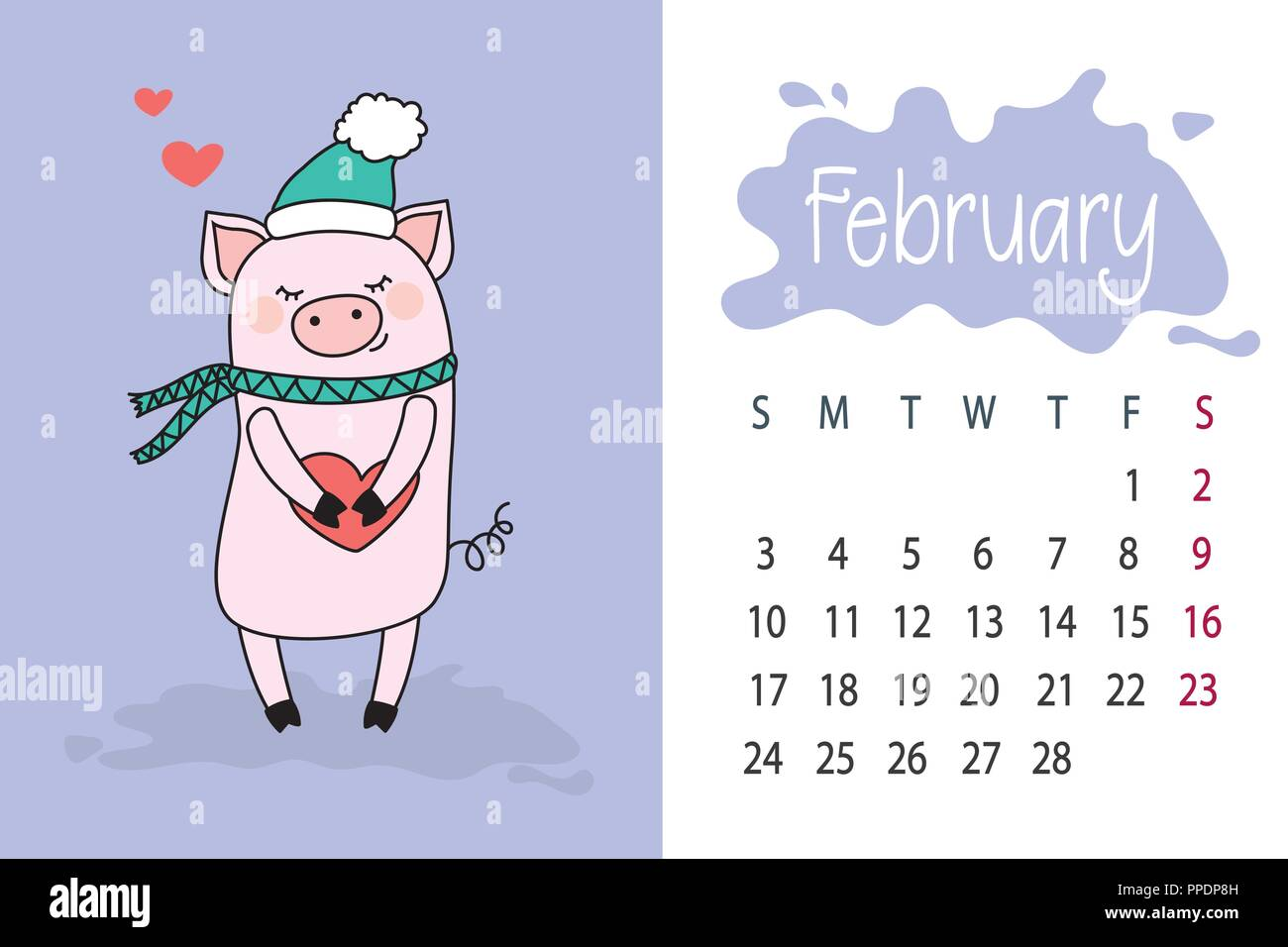 La Calendar February 2019 February month 2019 year calendar page with cute pink pig Stock
