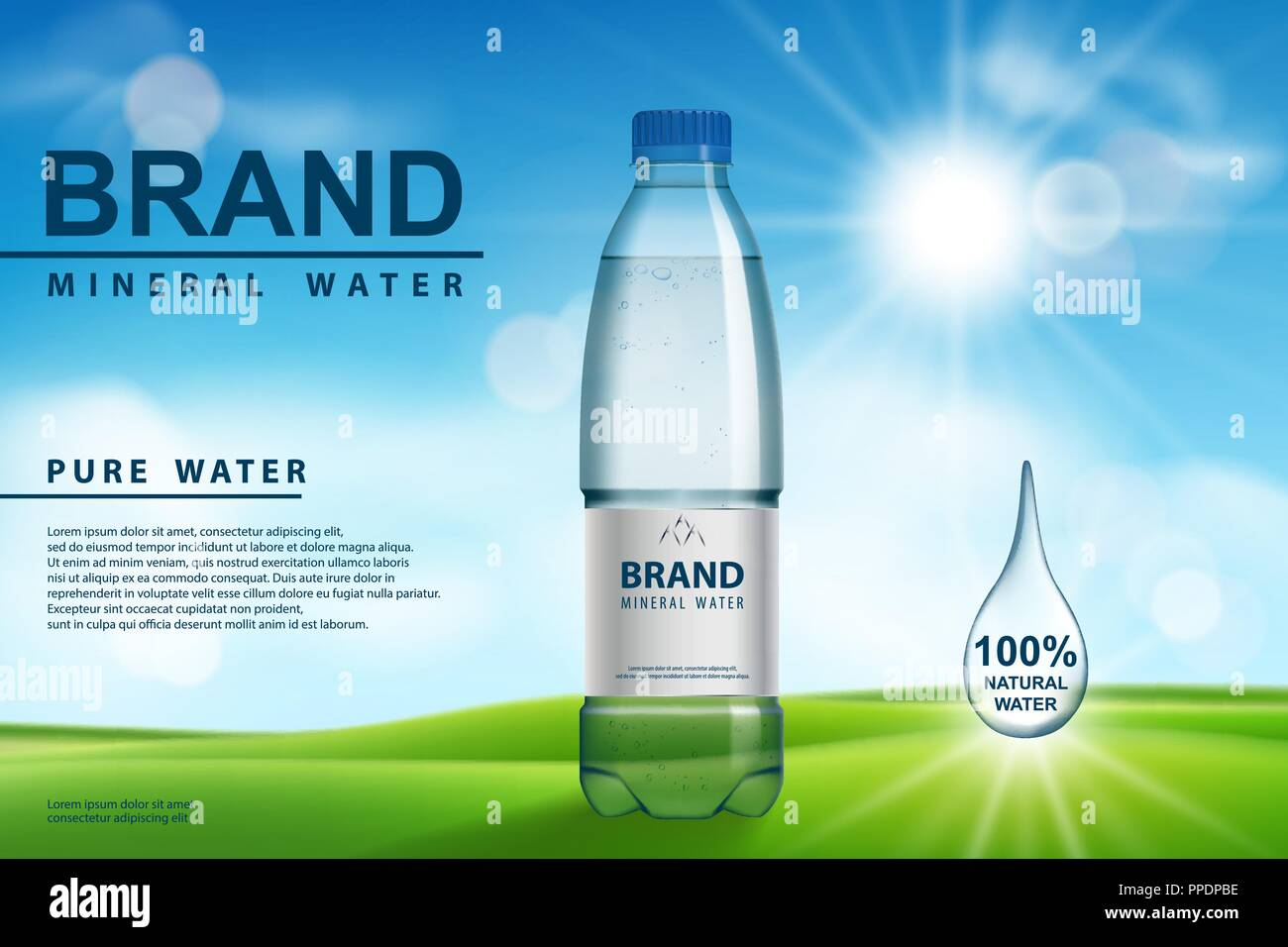 Mineral water ad, plastic bottle with pure mineral liquid on sunny background. Transparent Drinking water Bottle design. 3d vector illustration. - Stock Vector