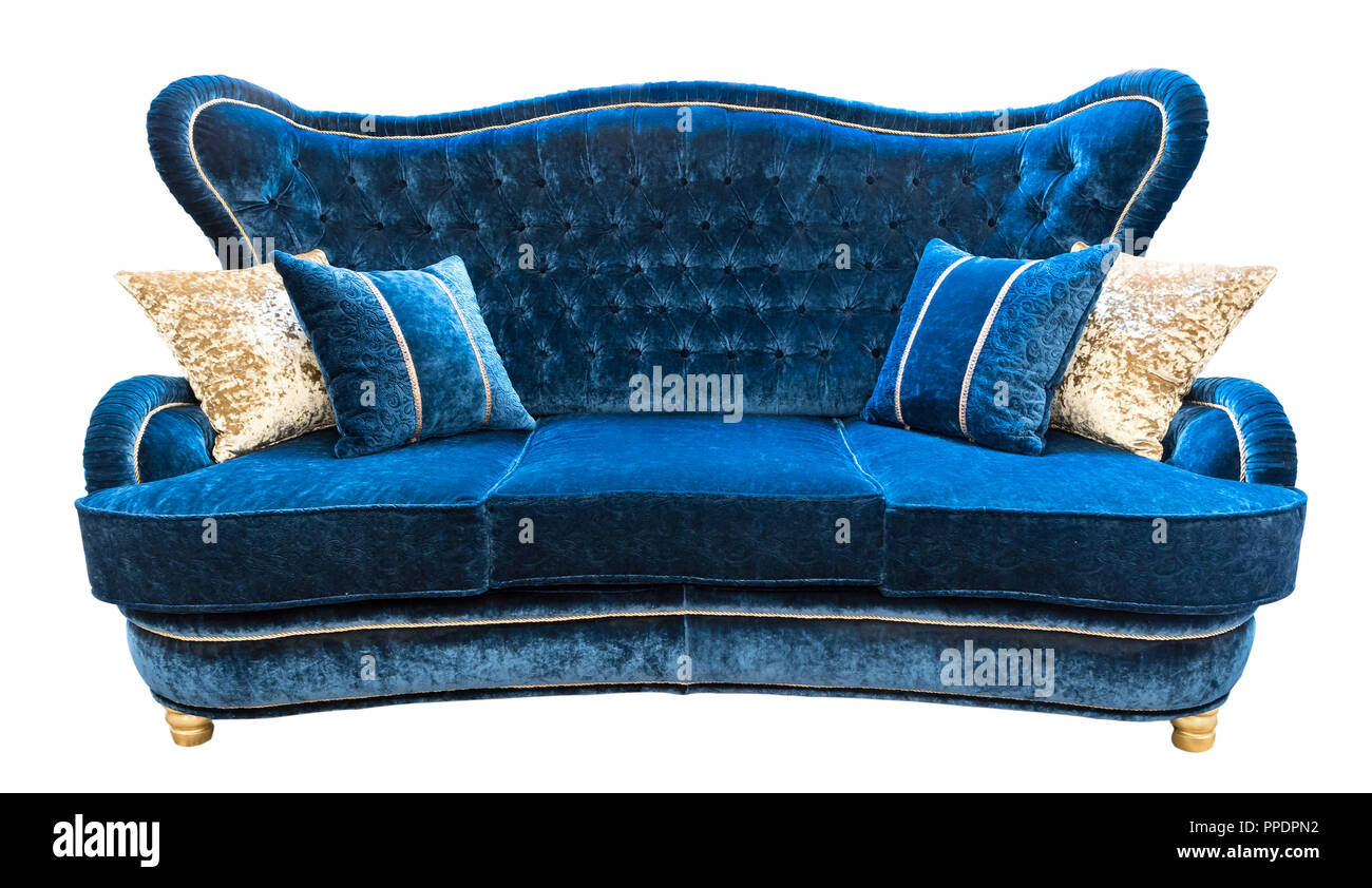 Blue Velours Sofa With Pillows. Soft Luxury Classical Couch With Cushions  Isolated Background.