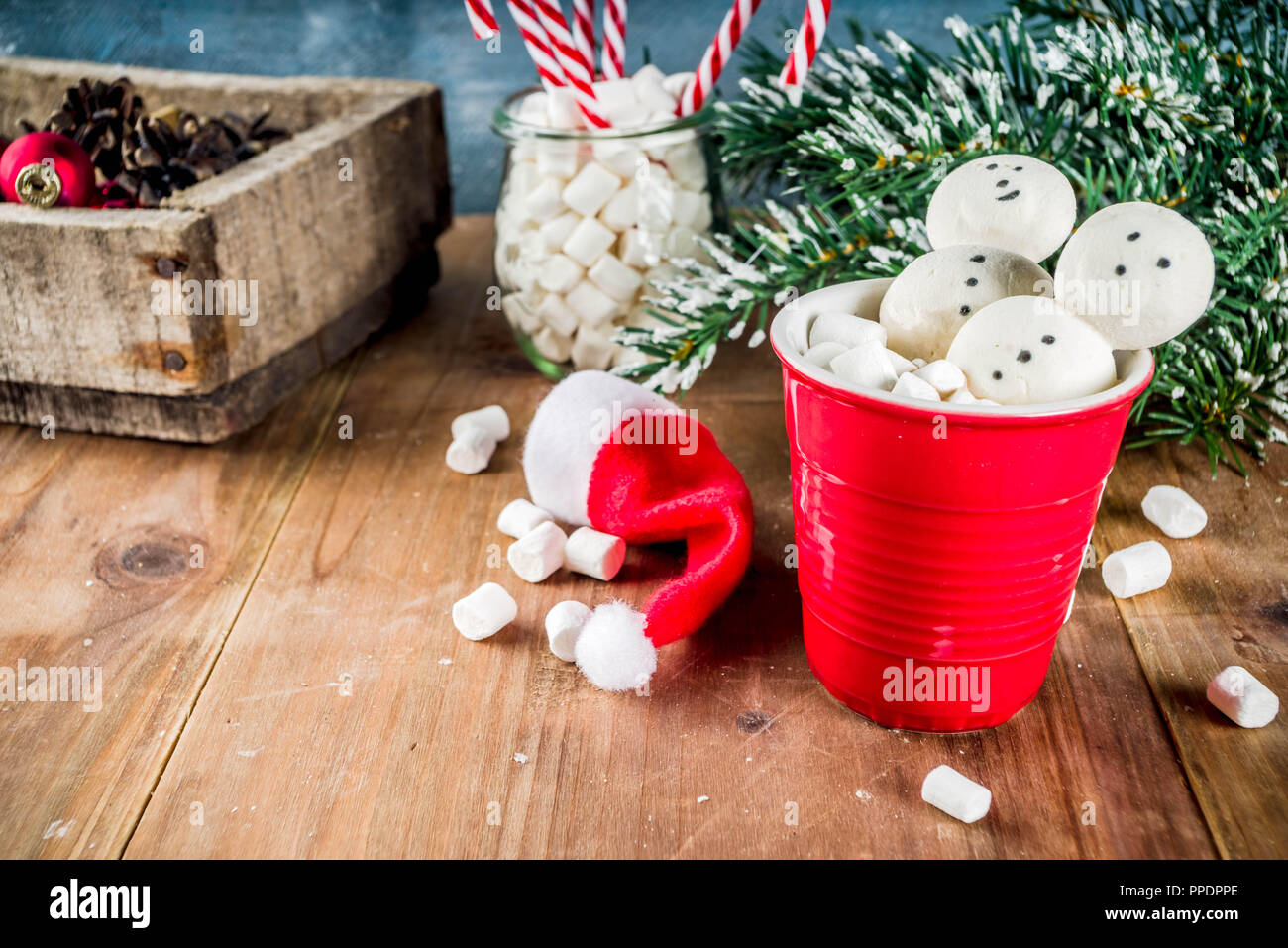 Hot Chocolate With Creative Marshmallow In The Form Of Snowmen With Christmas Decorations In A Box Wooden Background Copy Space Stock Photo Alamy
