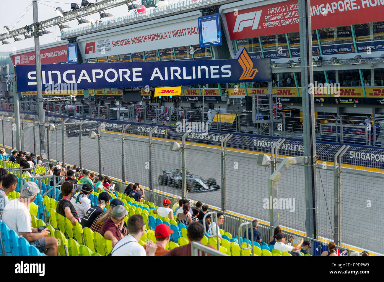 The Pit Garages from the Pit Grandstand at the Formula One Motor Race in Marina Bay Singapore Republic of Singapore Asia Stock Photo