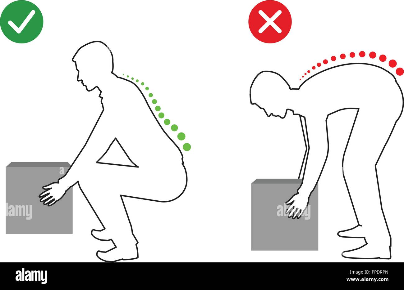 Correct posture to lift a heavy object, Men lifting object - Stock Image