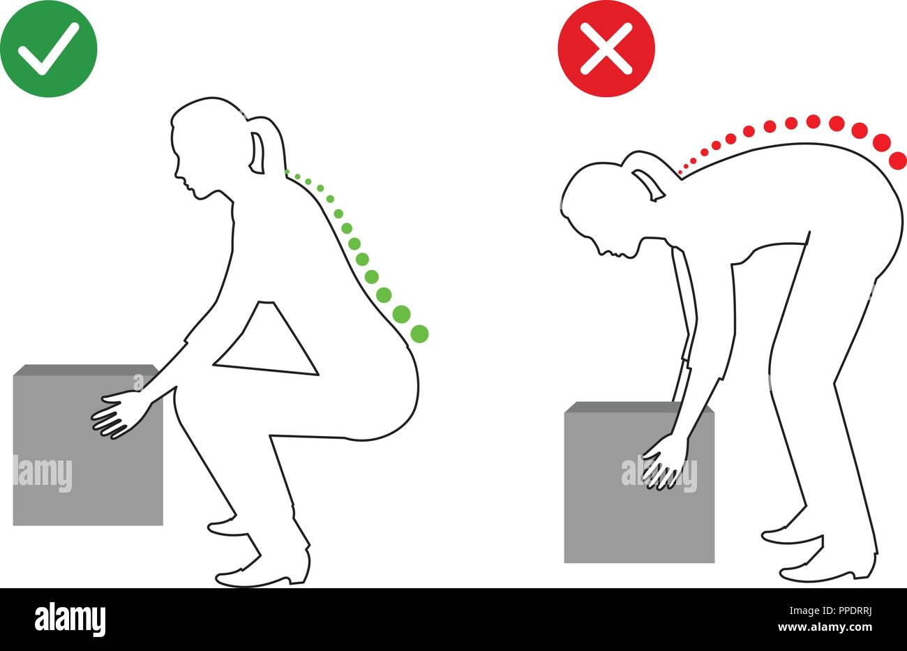 Ergonomics - Silhouette of correct posture to lift - Stock Image