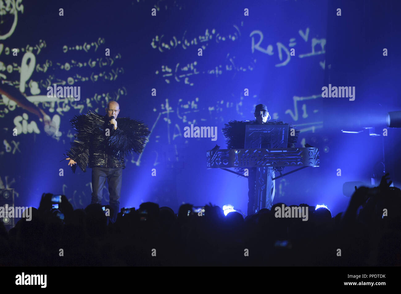 The Pet Shop Boys (Neil Tennant and Chris Lowe) live at the Tollwood Festival in Munich. - Stock Image