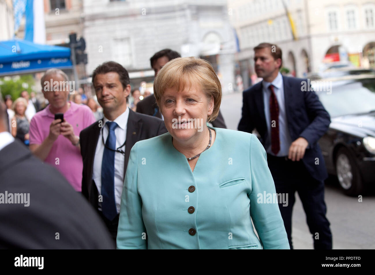 Angela Merkel on arrival at the Hotel Bayerischer Hof. - Stock Image