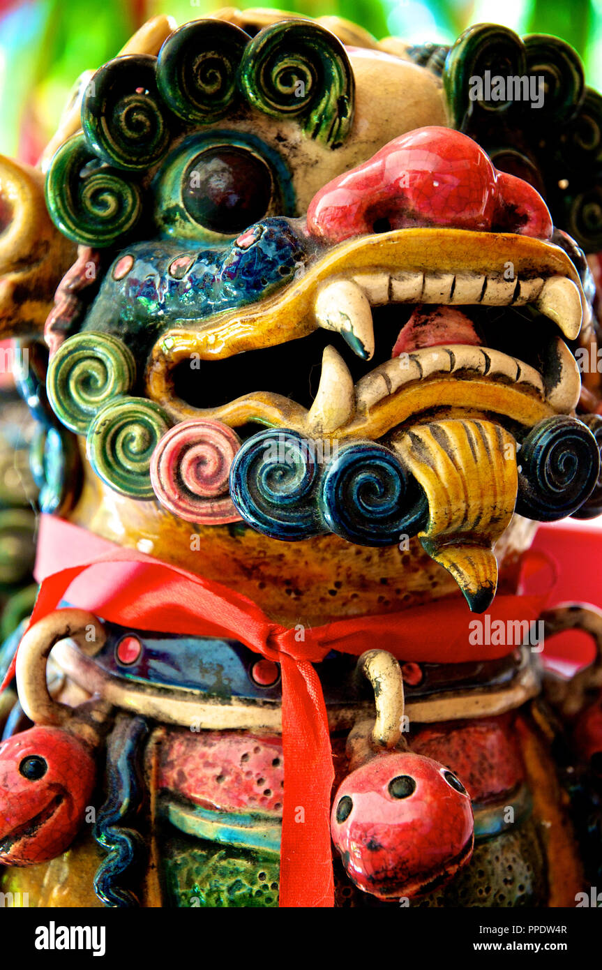 Closeup of a ceramic Chinese Foo Dog - Stock Image