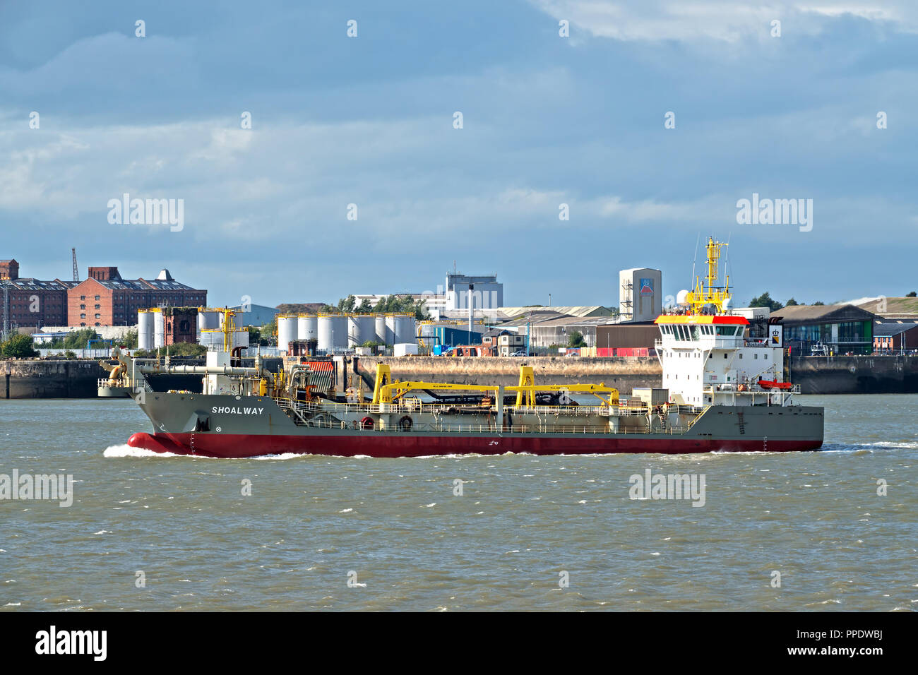 Shoalway a trailing suction hopper dredger on the River Mersey Liverpool UK. - Stock Image