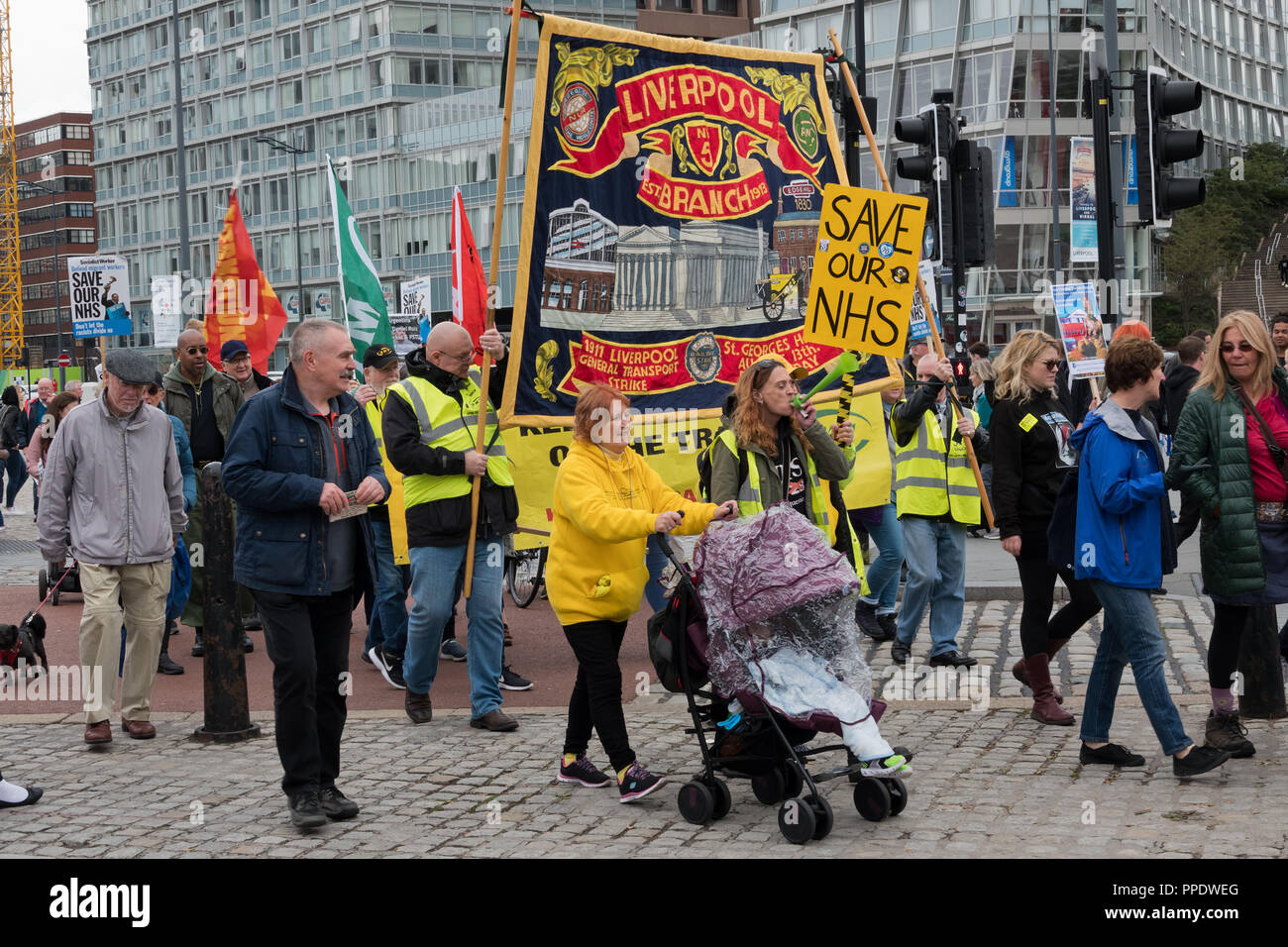Save our NHS demonstration in Liverpool UK September 2018. - Stock Image