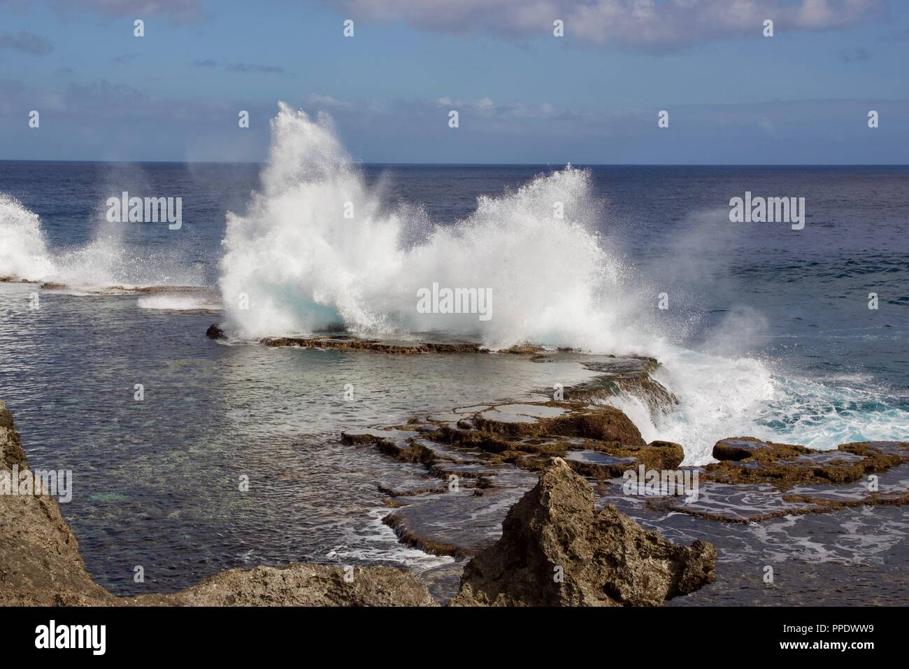 "Mapu a Vaea or ""Whistle of the Noble"" are natural blowholes on the island of Tongatapu, Tonga Stock Photo"