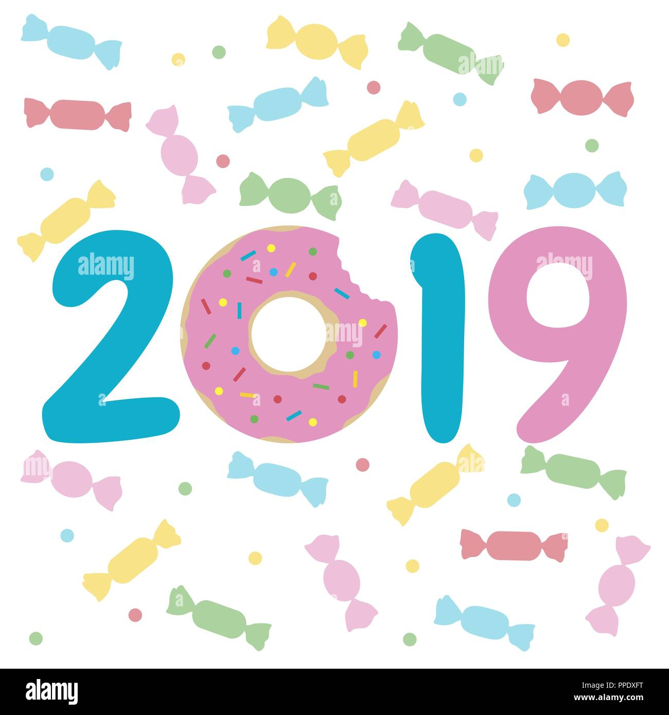happy new year 2019 illustration with donut and candy design for decoration greeting card print
