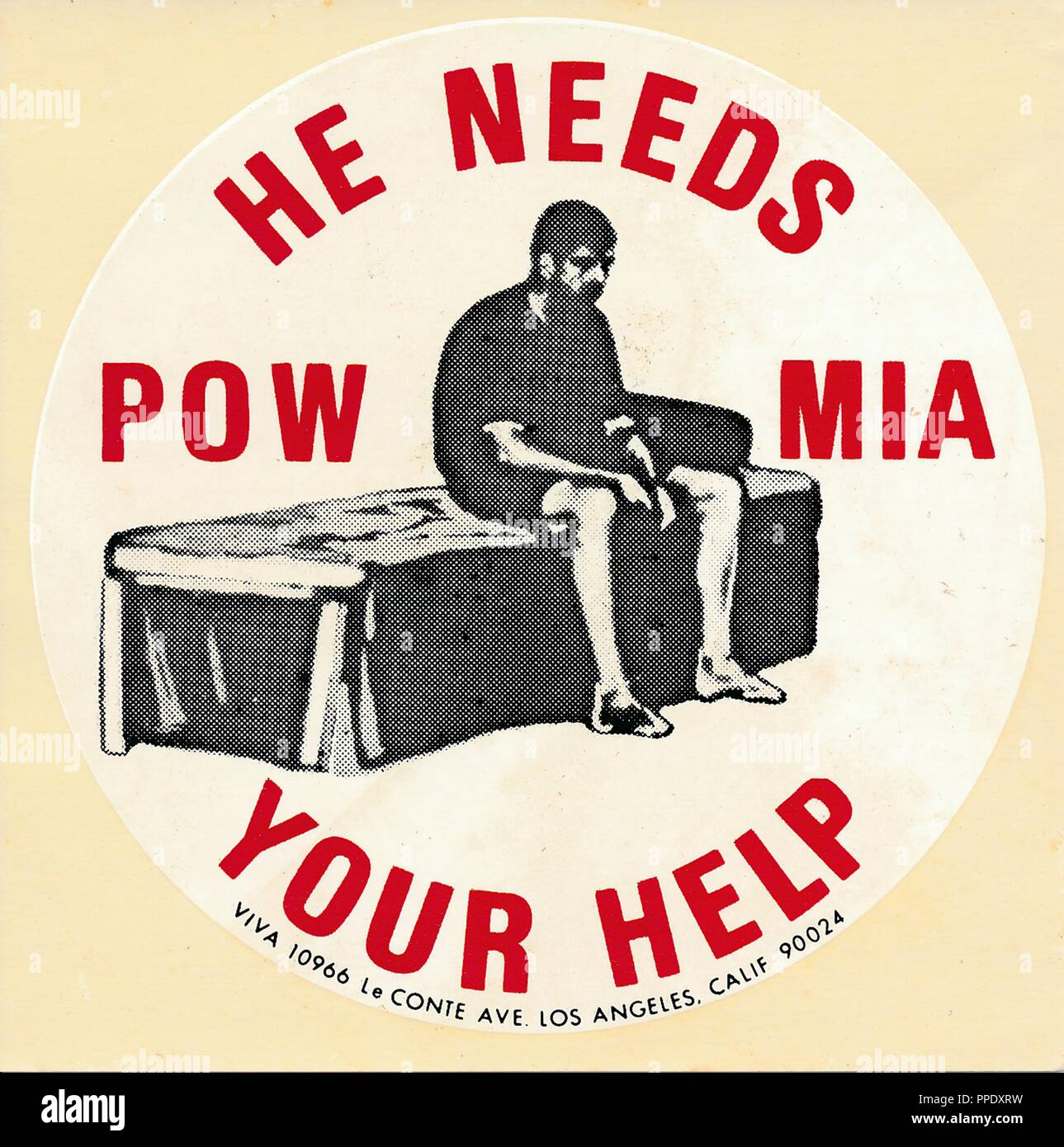 Red, white, and black sticker or decal, with a graphic design depicting a dispirited man sitting on the edge of a bed, with the text 'POW MIA, He Needs Your Help, ' published in Los Angeles, California, during the Vietnam War, 1975. () - Stock Image
